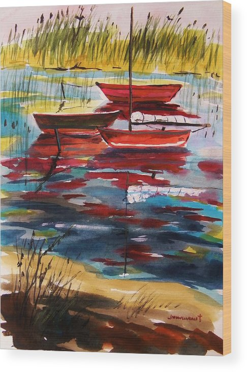 Watercolors Wood Print featuring the painting Moored In The Cove by John Williams