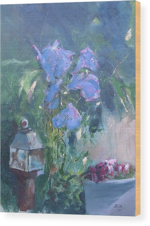 Flowers. Garden Wood Print featuring the painting Morning Glory by Bryan Alexander