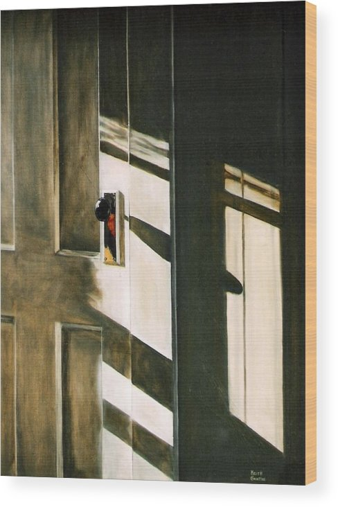 Door Wood Print featuring the painting Morning Sun by Keith Gantos