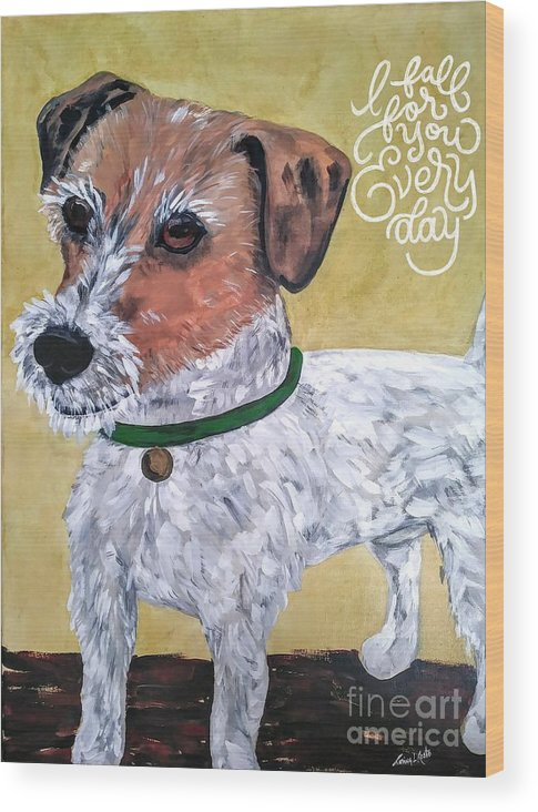 Dogs Wood Print featuring the painting Mr. R. Terrier by Reina Resto
