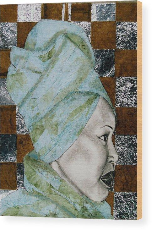 Malik Seneferu's Art Wood Print featuring the drawing Mrs. Seneferu by Malik Seneferu