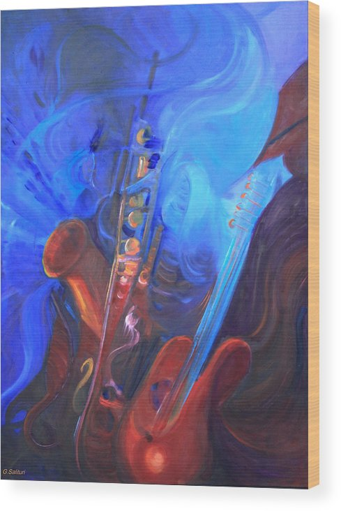 Abstract Wood Print featuring the painting Music For Saxy by Gail Salitui
