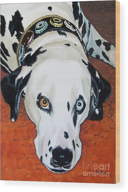 Animal Wood Print featuring the painting My Cock-eyed Dog by Gail Zavala