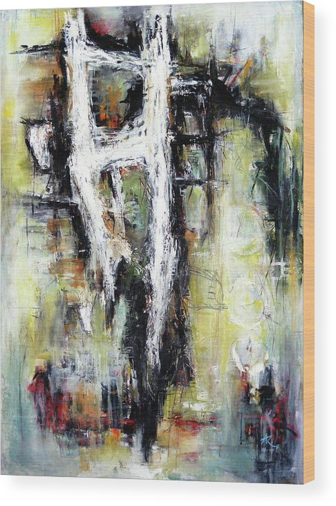 Abstracts Forms Wood Print featuring the painting My Heart's Adoration by Anil Kohli