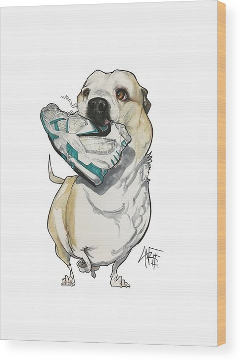 Pet Portrait Wood Print featuring the drawing Nelson 3226 by John LaFree