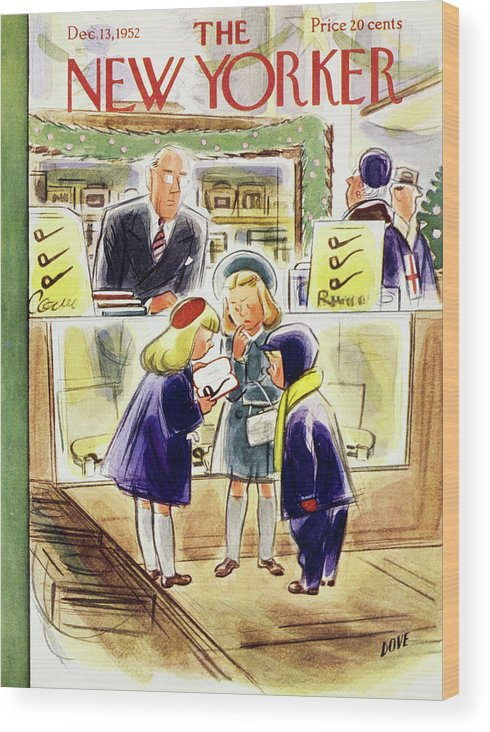 Children Wood Print featuring the painting New Yorker December 13 1952 by Leonard Dove