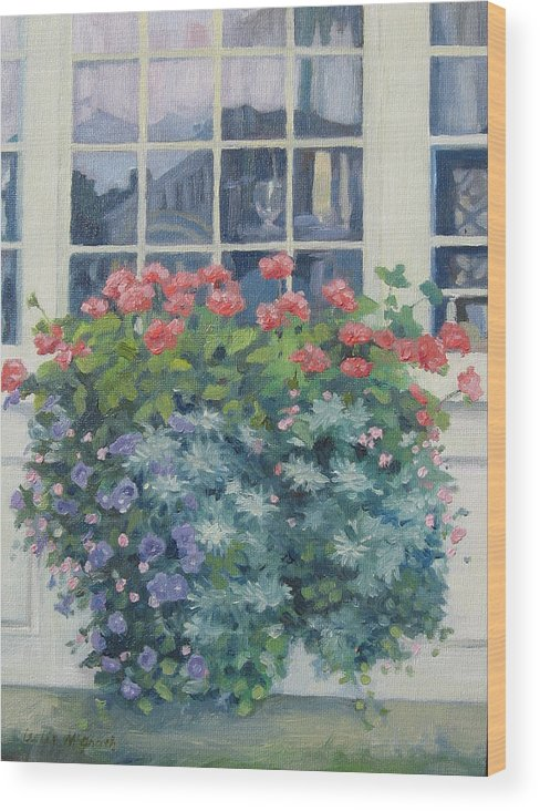 Leslie Mcgrath Wood Print featuring the painting Newburyport Window by Leslie Alfred McGrath