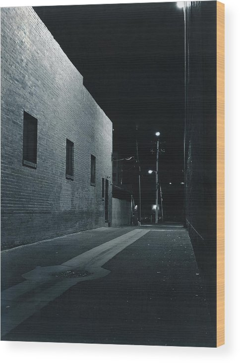 Night Wood Print featuring the photograph Night Alley To Main Street by Jim Furrer