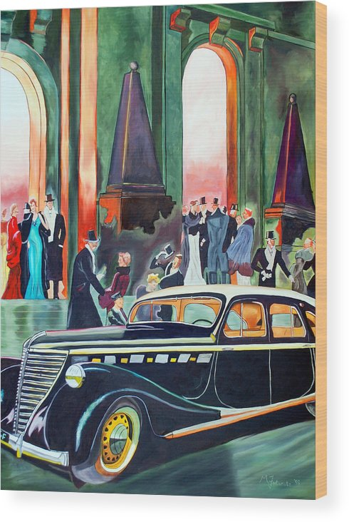 Car Wood Print featuring the painting Night At The Theater by Margaret Fortunato