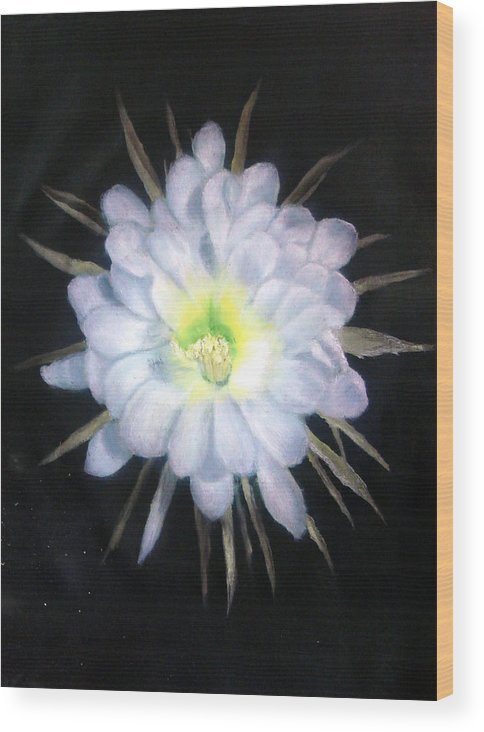 Night Wood Print featuring the painting Night Bloomig Cerus by Darlene Green