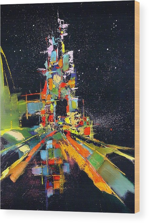 Abstract Wood Print featuring the painting Night Carnival by Ronald Dykes