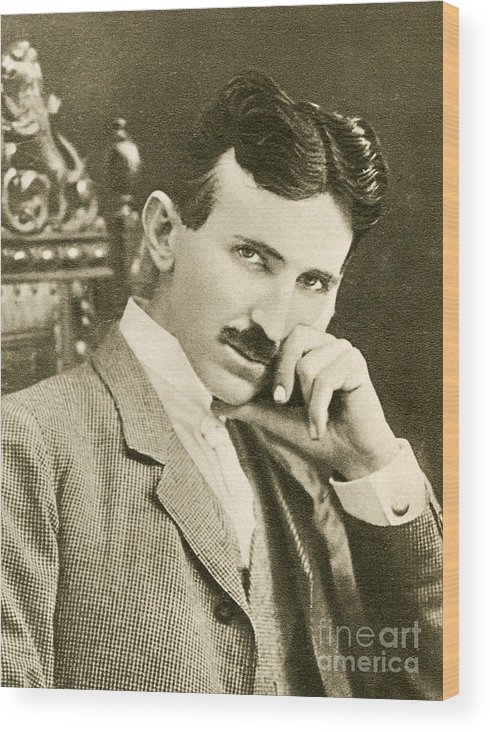 Science Wood Print featuring the photograph Nikola Tesla, Serbian-american Inventor by Photo Researchers