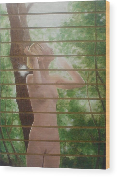 Realistic Wood Print featuring the painting Nude Forest by Angel Ortiz