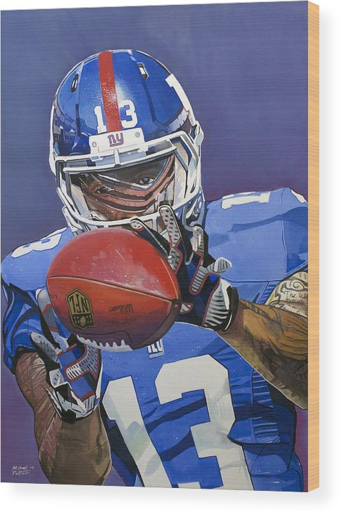 5b8965bf4 Odell Beckham Jr. Wood Print featuring the painting Odell Beckham Jr. Catch New  York