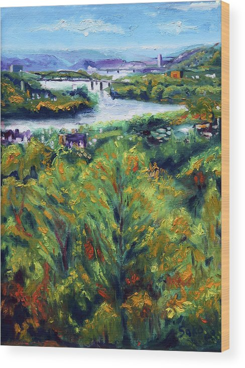 Landscape Wood Print featuring the painting Ohio River From Ayers-limestone Road by Robert Sako
