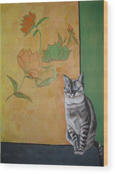Cat Wood Print featuring the painting Oomka by Aliza Souleyeva-Alexander