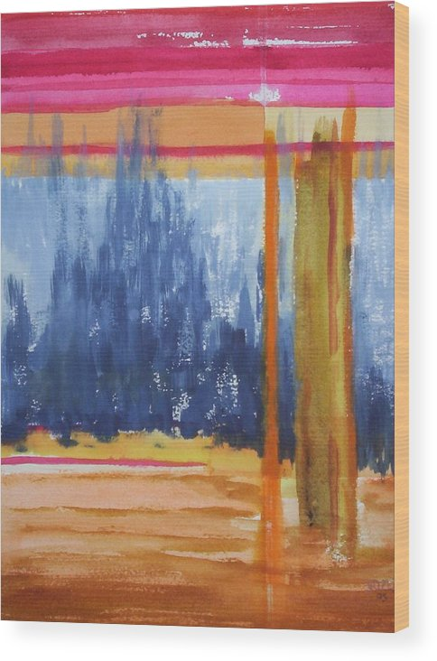 Landscape Wood Print featuring the painting Opening by Suzanne Udell Levinger