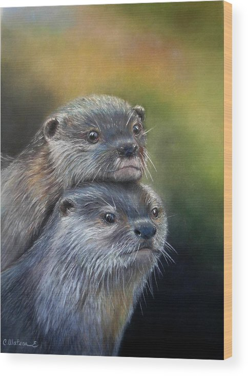 River Otter Wood Print featuring the painting Otter Be Two by Ceci Watson