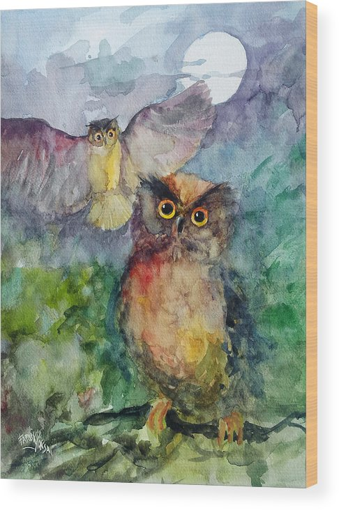 Owl Wood Print featuring the painting Owls In The Night... by Faruk Koksal