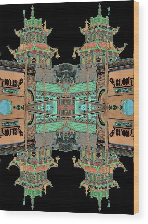 China Town Wood Print featuring the photograph Pagoda Tower Becomes Chinese Lantern 1 Chinatown Chicago by Marianne Dow