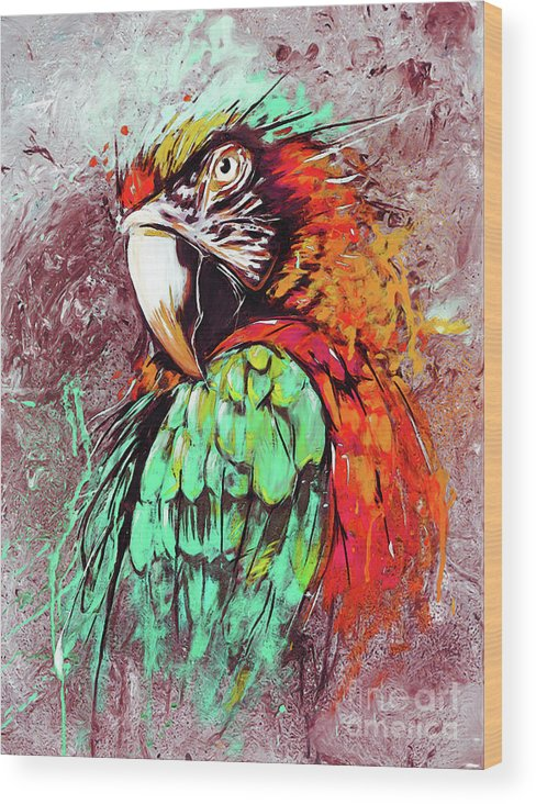 Watercolor Painting Wood Print featuring the painting Parrot Art 09i by Gull G
