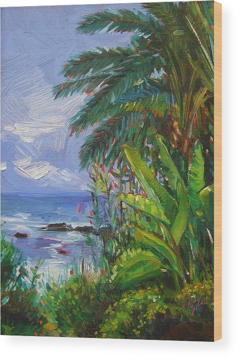 Spider Plant Wood Print featuring the painting Path To The Sea by Karen Doyle