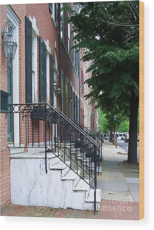 Architecture Wood Print featuring the photograph Philadelphia Neighborhood by Debbi Granruth