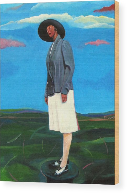 Woman Wood Print featuring the painting Pillars Series Florence In Black Hat by Joyce Owens