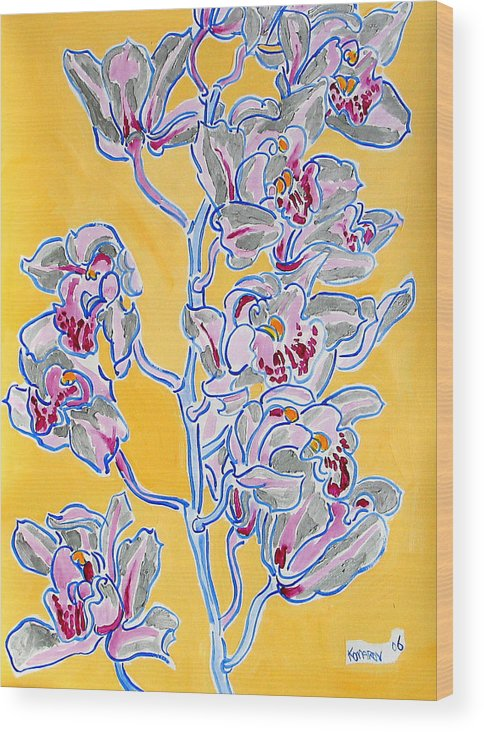 Orchid Wood Print featuring the painting Pink Orchid by Vitali Komarov