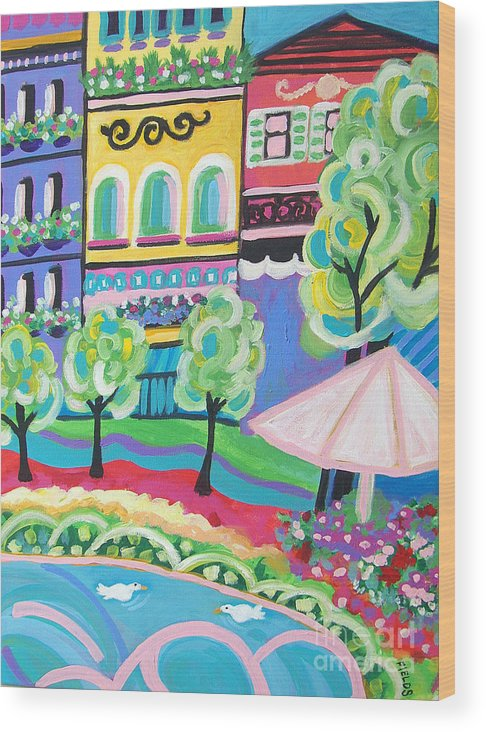 Folk Wood Print featuring the painting Pond Garden Boutiques On The Avenue by Karen Fields