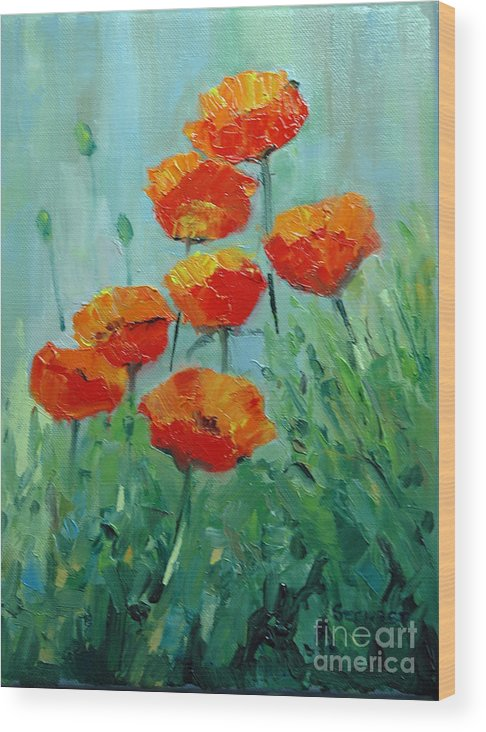 Floral Wood Print featuring the painting Poppies For Sally by Glenn Secrest
