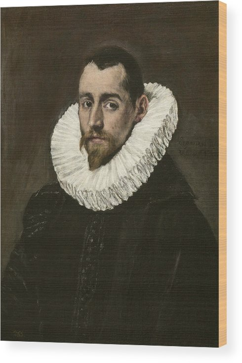 Beard Wood Print featuring the painting Portrait Of A Young Gentleman by El Greco