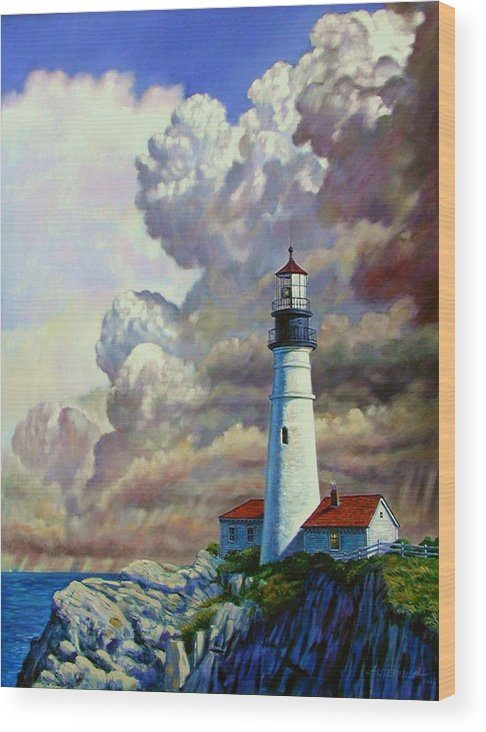 Lighthouse Wood Print featuring the painting Powering Up by John Lautermilch