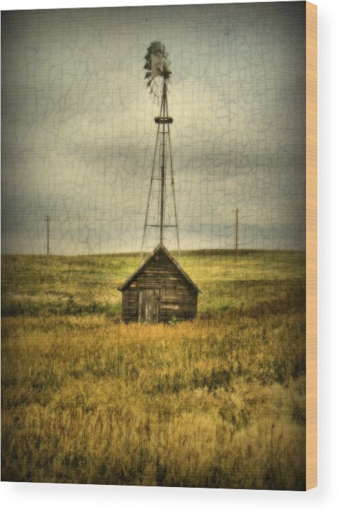 Windmill Wood Print featuring the photograph Prairie Pump by Tingy Wende