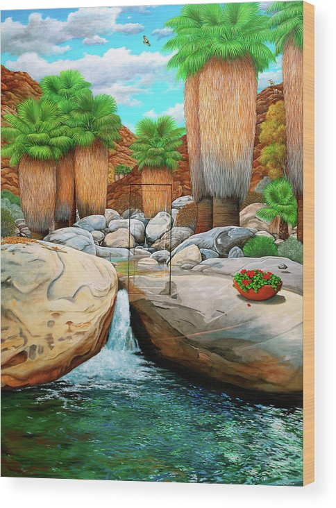 Landscape Wood Print featuring the painting Primary Escape Route by Snake Jagger