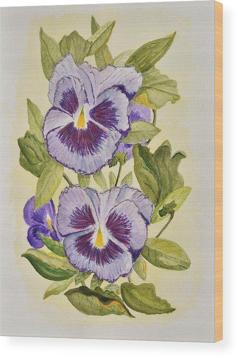 Linda Brody Wood Print featuring the painting Purple Pansies by Linda Brody