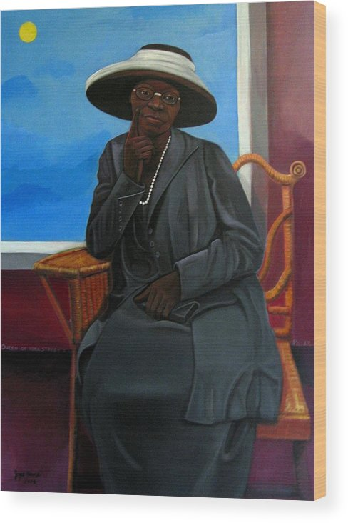 Woman Wood Print featuring the painting Queen Of York Street II by Joyce Owens