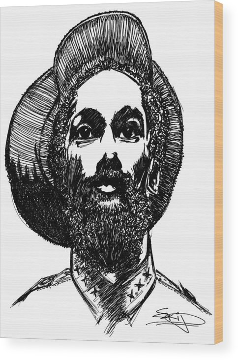 Ink Wood Print featuring the painting Rahsta1 by SKIP Smith