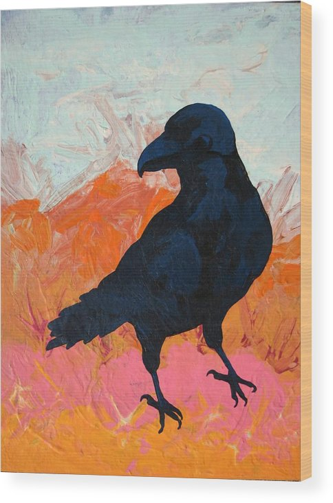 Raven Wood Print featuring the painting Raven I by Dodd Holsapple