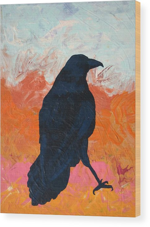 Raven Wood Print featuring the painting Raven II by Dodd Holsapple