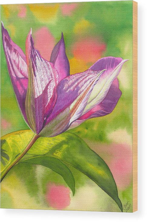 Flower Wood Print featuring the painting Reaching by Catherine G McElroy