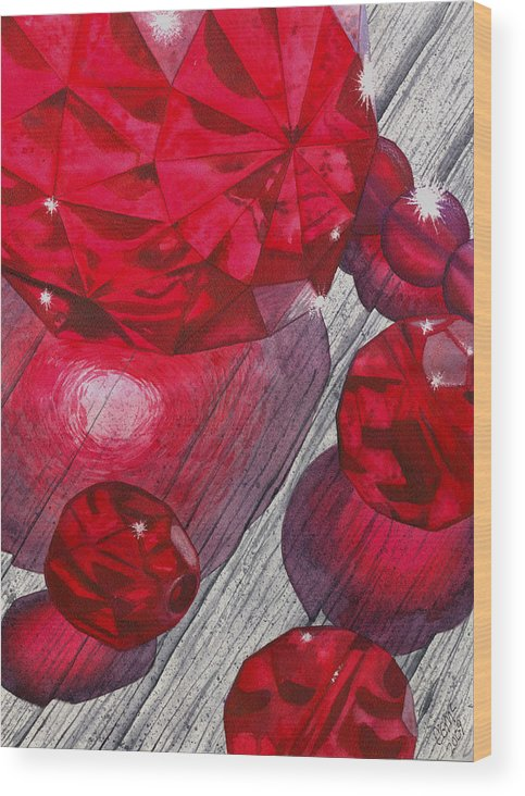 Red Wood Print featuring the painting Red by Catherine G McElroy