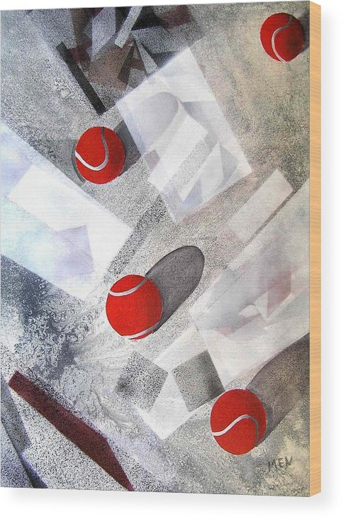 Tennis Balls Wood Print featuring the painting Red Tennis Balls On White Sand by Evguenia Men
