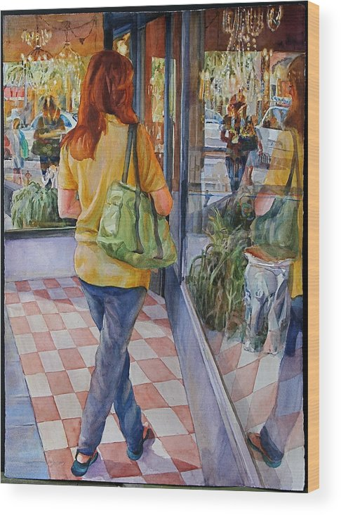 Figures Wood Print featuring the painting Reflecting Shopping by Carolyn Epperly