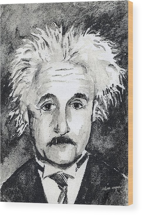 Man Wood Print featuring the mixed media Resemblance To Einstein by Arline Wagner