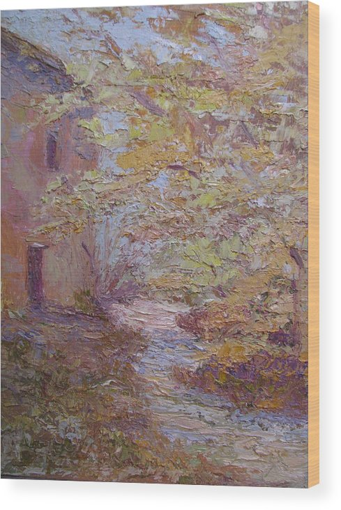 French Farmhouse Wood Print featuring the painting Riverside Colmar France by Belinda Consten
