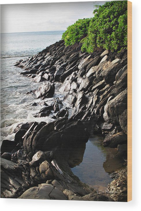 Maui Wood Print featuring the photograph Rocky Maui Coast by Joan Minchak