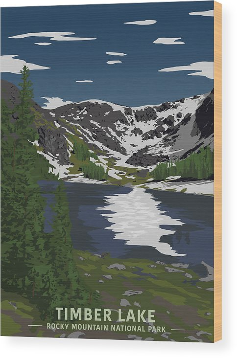 Timber Wood Print featuring the digital art Rocky Mountain by Sketchbook Ink