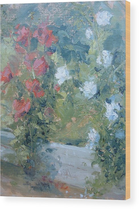 Roses In California Garden Wood Print featuring the painting Rose Garden by Bryan Alexander