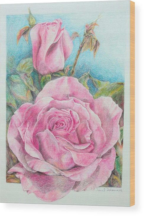 Flower Wood Print featuring the painting Rose by Muriel Dolemieux